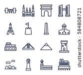 landmark icons set. set of 16...   Shutterstock .eps vector #584808721