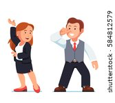 dancing business people man and ... | Shutterstock .eps vector #584812579