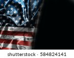 usa flag background with... | Shutterstock . vector #584824141