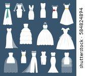wedding bride dress elegance... | Shutterstock .eps vector #584824894