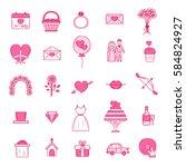 wedding outline icons vector... | Shutterstock .eps vector #584824927