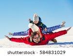 ski  snow sun and fun   happy...   Shutterstock . vector #584831029