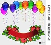 birthday party vector... | Shutterstock .eps vector #584845195
