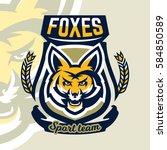 colorful logo  mascot  a fox's... | Shutterstock .eps vector #584850589