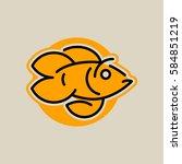 logo goldfish. vector... | Shutterstock .eps vector #584851219