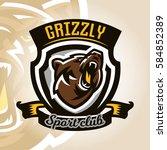 colorful logo  emblem  growling ... | Shutterstock .eps vector #584852389