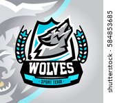 colorful logo  emblem  a wolf... | Shutterstock .eps vector #584853685