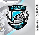 colorful logo  emblem  a wolf... | Shutterstock .eps vector #584853691