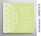 invitation or card with lace... | Shutterstock .eps vector #584857675