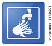 Glossy vector illustration of a sign for washing hands - stock vector