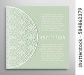 invitation or card with lace... | Shutterstock .eps vector #584862379