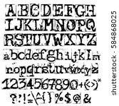vector old typewriter font.... | Shutterstock .eps vector #584868025