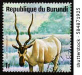 Small photo of MOSCOW, RUSSIA - FEBRUARY 19, 2017: A stamp printed by Burundi shows antelope addax (Addax nasomaculatus), or screwhorn antelope, series Animals Burundi, circa 1975