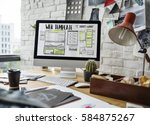 website development layout... | Shutterstock . vector #584875267