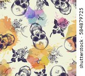 Seamless Pattern With Skulls...