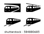 set of train icons in...