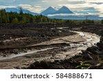 Small photo of View of the volcanoes: Klyuchevskaya Sopka, Bezymianny, Kamen from river Studenaya at dawn. Kamchatka Peninsula.