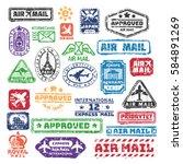 vector set of vintage postage... | Shutterstock .eps vector #584891269