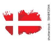 painted grunge denmark flag ... | Shutterstock .eps vector #584892544