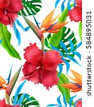 Amazing Tropical Flowers Patte...