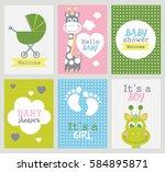 set of baby shower cards.... | Shutterstock .eps vector #584895871