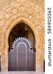 Small photo of Moroccan arabesque design on the gates of the Mosque Hassan II in Casablanca Morocco