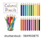 pencils set  desk organizer ... | Shutterstock . vector #584903875
