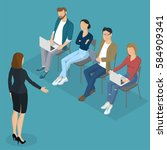 isometric people  briefing ... | Shutterstock .eps vector #584909341