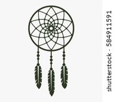 Dream Catcher Vector Icon.