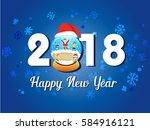 vector   happy new year 2018 ... | Shutterstock .eps vector #584916121