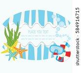 summer logo background vector... | Shutterstock .eps vector #584916715