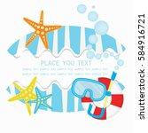 summer logo background vector... | Shutterstock .eps vector #584916721