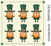 set isolated leprechaun in... | Shutterstock .eps vector #584918161