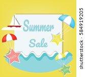 summer logo background vector... | Shutterstock .eps vector #584919205