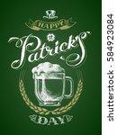 st. patricks day. glass beer... | Shutterstock .eps vector #584923084