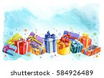 holiday presents gift boxes... | Shutterstock . vector #584926489
