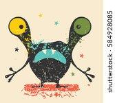cute black monster with... | Shutterstock .eps vector #584928085