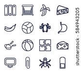 painting icons set. set of 16... | Shutterstock .eps vector #584943205