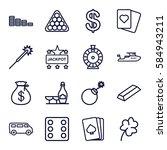 Casino Icons Set. Set Of 16...