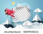 paper plane flying out from a... | Shutterstock .eps vector #584944021