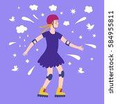 happy cartoon girl skating.... | Shutterstock .eps vector #584955811