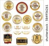 golden shields laurel wreaths... | Shutterstock .eps vector #584956261