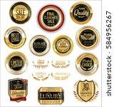 golden shields laurel wreaths...   Shutterstock .eps vector #584956267