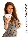beautiful brunette holding four ... | Shutterstock . vector #584958589
