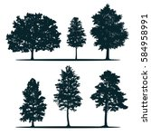 tree silhouettes   green oak ... | Shutterstock .eps vector #584958991