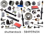 Stock photo auto spare parts car on the white background set with many isolated items for shop or aftermarket 584959654