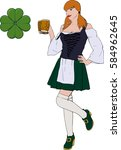 young red haired irish waitress ... | Shutterstock . vector #584962645