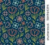 8 march pattern floral flower...   Shutterstock .eps vector #584964394