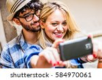 selfie with smartphone  dating... | Shutterstock . vector #584970061