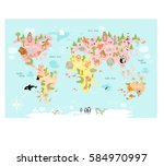 vector map of the world with... | Shutterstock .eps vector #584970997